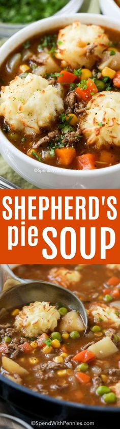 Shepherd's Pie Soup is a family favorite! A rich and beefy broth loaded with vegetables and topped with golden potato puffs! #soup #ad #shepherdspie #groundbeef #stew #easyrecipe #spendwithpennies #hamburger