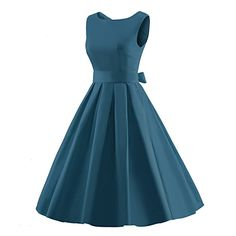 iLover Women's 1950s Style Rockabilly Swing Vintage Dresses Party Dress,DarkBlue,Small