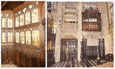 The Royal Pew in St George's Chapel, Windsor Castle. The closet was originally constructed for Catherine of Aragon and is decorated with her emblems. Anne Boleyn and Henry VIII watched mass and other ceremonies from here, stairs lead down into the chapel.