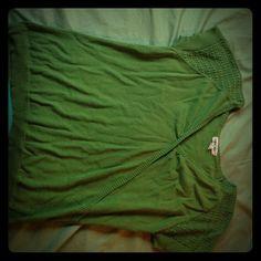 Green Cherokee brand woven surplice-style top Size XL green top with surplice detail and woven detail on the sleeves. Like new. Cherokee Tops
