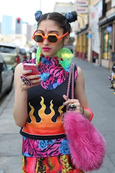 urban street- do you have this kind of wardrobe? anything cyberpunk mashup 80's-90's bright colors tacky raver sparkly fruitycool