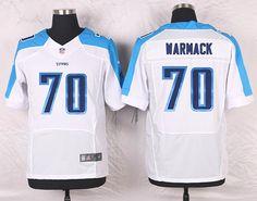 White Chance Warmack Men's Elite Tennessee Titans #70 Road NFL Jersey