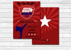 Printable custom American Ninja Warrior party invitation, red, blue, white, front, back, card, The Petunia Tree by ThePetuniaTree on Etsy