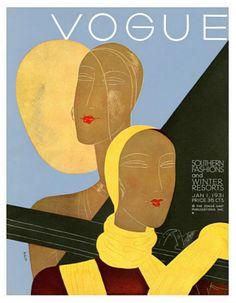 Vogue magazine cover January 1931 by Eduardo Garcia Benito. Print available at Condé Nast http://www.condenaststore.com/-sp/Vogue-Cover-January-1931-Prints_i8483608_.htm