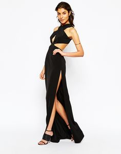 Image 4 of Solace London Wrap Front Halterneck Maxi Dress With Cut Out Back