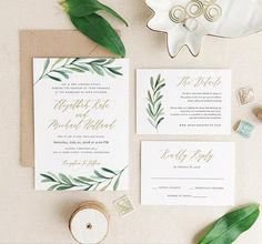 Greenery Wedding Invitation Template, Printable Wedding Invitation Suite, Olive Wedding, Calligraphy, Edit in Word or Pages Green Wedding Invitations, Rustic Invitations, Printable Wedding Invitations, Wedding Invitation Templates, Invitations Online, Event Invitations, Invitation Kits, Wedding Templates, Wedding Stationary