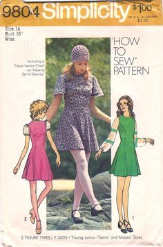 I had yellow and black versions of view 3, complete with rickrack. Both were lengthened to make them midis. Simplicity 9804