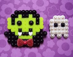 Halloween perler bead dracula and ghost