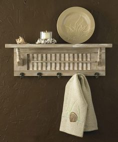Shutter Shelf. Mason jar planter hole and knobs as hooks to hang empty frames using ribbon.