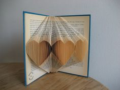 Folded book hearts--wedding/anniversary gift-turquois cover-love-repurposed book-ready to ship