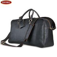 bbe6f59c0b4e Enlarge Version Dark ༼ ộ ộ ༽ Brown Crazy Horse Leather Men s Duffel Travel  bag ︻ Vintage Tote Handbag Shoulder Bag   Enlarge Version Dark Brown Crazy  ...