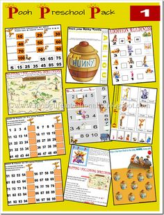 winnie the pooh preschool pack -- this looks way better than your average freebie preschool pack and includes lots of great number and math drills