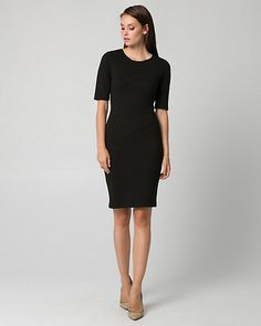 Ponte Crew Neck Banded Dress - An banded silhouette adds to the appeal of this…