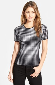 Vince Camuto 'Graphic Boxes' Scuba Knit Crewneck Top (Regular & Petite) (Nordstrom Exclusive) available at #Nordstrom