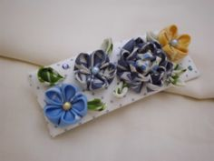 Kanzashi inspired french Barrette  Peony Plum by JagataraArt, $18.00