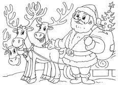 Coloring page Santa Claus with reindeer - img 23062. Description from edupics.com. I searched for this on bing.com/images