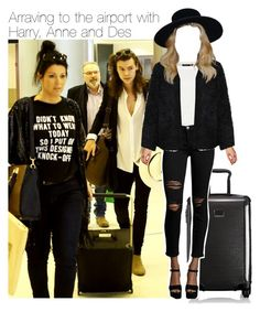 """Arraving to the airport with Harry, Anne and Des"" by zaynismybaex ❤ liked on Polyvore featuring Tumi, Current/Elliott and LE3NO"