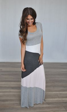 Dottie Couture Boutique - Colorblock Maxi Dress- Grey/Pink, $42.00 (http://www.dottiecouture.com/colorblock-maxi-dress-grey-pink/)