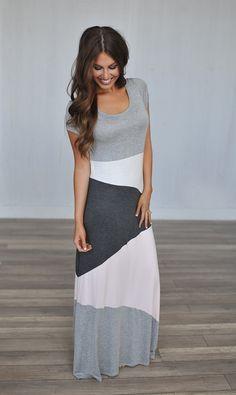 Dottie Couture Boutique - Colorblock Maxi Dress- Grey/Pink, $42.00 (http://www.dottiecouture.com/colorblock-maxi-dress-grey-pink/)