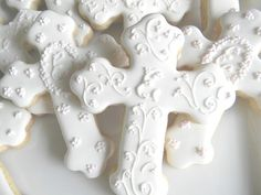 Pretty Baptism Communion Confirmation Cross Cookie Favors