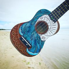 Check out our hand painted ukulele selection for the very best in unique or custom, handmade pieces from our musical instruments shops. Acoustic Guitar Art, Ukulele Art, Guitar Songs, Guitar Chords, Ukelele Painted, France O, Heart Of Te Fiti, Hawaiian Ukulele, Gifts