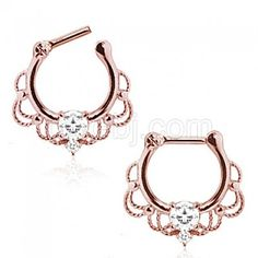 Rose Gold Plated Septum Clicker with Center CZ