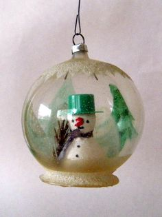 Vintage snowman globe ornament