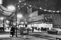 "New Bedford, Snowy scene in front of Kresge's ""Five and Dime"" on Purchase Street (Spinner Publications Vintage Christmas Photos, Retro Christmas, Vintage Holiday, Outdoor Christmas, Christmas Pictures, Antique Christmas, Modern Christmas, Bedford Falls, New Bedford"
