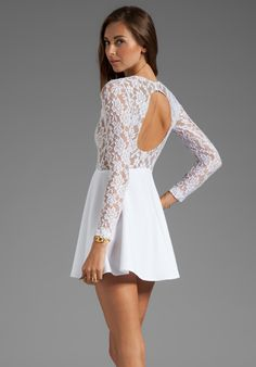 BOULEE Avery Long Sleeve Dress in White Lace
