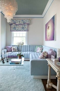 glam small space living room blue Designer Eddie Lee Inc. Samuel and Sons Passementerie Small Living Rooms, Home And Living, Living Room Designs, Living Room Decor, Living Spaces, Family Rooms, Modern Living, Blue Ceilings, Passementerie