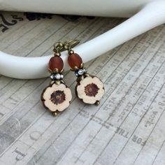 Cream Earrings, Brown Earrings, Topaz Earrings, Flower Earrings, Czech Glass Beads, Unique Earrings, Antique Gold Earrings, Womens Earrings by SmockandStone on Etsy