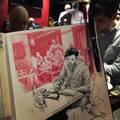 Listening to and drawing the South Station Stompers at Lilla Wien together with 15 other Urban sketchers in Stockholm. Sweet music and such… Music Drawings, Drawing Sketches, Sketch Art, Art Drawings, Drawing Ideas, Music Sketch, Urban Sketchers, Street Art Graffiti, Art Du Croquis