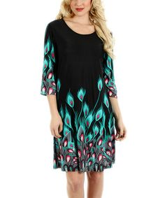 Look what I found on #zulily! Black & Teal Peacock Shift Dress by Aster #zulilyfinds