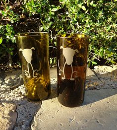 Recycled Wine Bottle Glasses with Hand Etched Sitting Dogs No 1 in the Stick Dog Collection Set of 2 on Etsy, $32.00