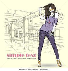 Fashion Girl Vector Illustration Wallpaper