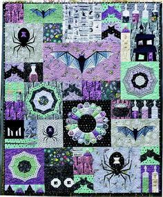 Welcome to the Epic Halloween Quilt-Along, Week – Flying Parrot Quilts Halloween Quilt Patterns, Halloween Quilts, Halloween Sewing, Halloween Crafts, Quilting Projects, Quilting Designs, Quilting Ideas, Sewing Projects, Mini Quilts