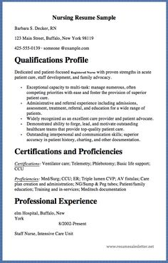nursing resume sample barbara s decker rn 123 main street buffalo new - Resume Registered Nurse