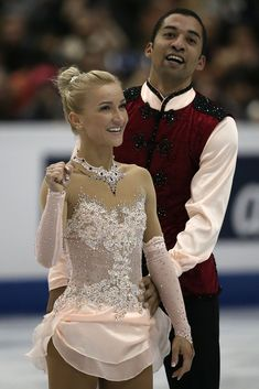 Aliona Savchenko and Robin Szolkowy of Germany celebrate afer their routine in the Pairs Free Skating Final during day three of the ISU Grand Prix of Figure Skating Final at Marine Messe Fukuoka on December 2013 in Fukuoka, Japan. Ice Dance Dresses, Ice Skating Dresses, Dance Outfits, Figure Skating Outfits, Figure Skating Costumes, Aliona Savchenko, Custom Dance Costumes, Fairytale Fashion, Outfits
