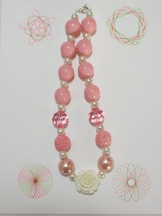 Girl Ivory Flower Chunky Bubblegum Necklace Girl Chunky