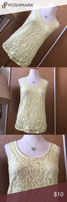 Conscious Collection H&M Yellow Lace Zipper Tank Excellent condition. Smoke free home. No stains rips or pilling. Double layered.68% organic cotton 32% polyamide and lining is 100% recycled polyester. Made in Cambodia. Pale pastel yellow. Floral Lacey design. Tunic. Back zipper works. Scoop neck. Professional. Working gal. Business separate. Basic. Feminine. Romantic. Tops G H&M Tops Blouses