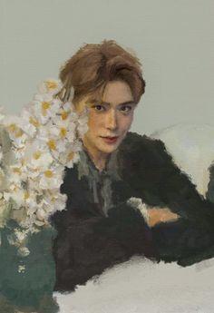 Kpop Drawings, Art Drawings, Valentines For Boys, Jaehyun Nct, Kpop Fanart, Aesthetic Art, K Pop, K Idols, Cute Art