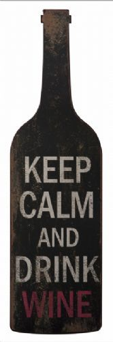 """Large Antique Metal Wine Bottle Wall Hanging """"Keep Calm & Drink Wine""""...I NEED this!"""