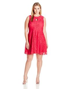 Julian Taylor Womens Plus Size FitAndFlare Lace Dress with Ket Hole Watermelon 18W *** To view further for this item, visit the image link.