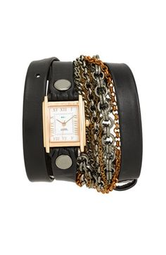 Blk Leather/Chain Wrap Watch