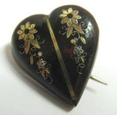 antique pique | ... Home » Antique Victorian Tortoiseshell Heart Brooch with Piqué Inlay