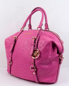 Michael Kors Bedford MD Bowling Ostrich Embossed Leather Satchel Bag in Zinnia Pink