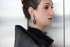 Polymer Black Drop Earrings Plastic Earrings  by PinguArtDesigns