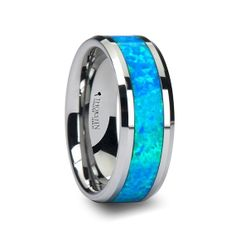 Shop the latest collection of Thorsten Rings QUASAR Tungsten Wedding Band Blue Green Opal Inlay - 6 mm from the popular stores - all in one Blue Wedding Rings, Celtic Wedding Rings, Blue Rings, Wedding Ring Bands, Wedding Jewelry, Mens Wedding Bands Blue, Green Wedding, Green Opal, Blue Green