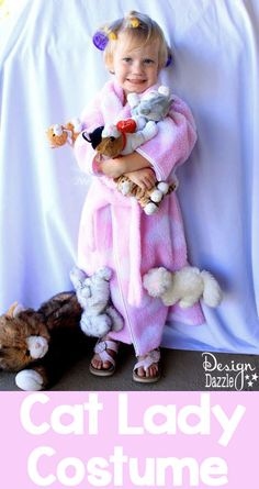 An easy costume that took all of 15 minutes to make. This cat lady #halloweencostume is warm and cuddly for little ones. - Design Dazzle
