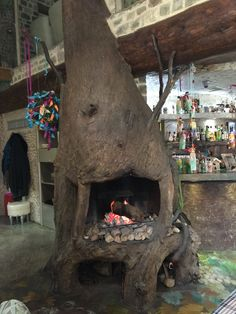 Fireplace made out of real timber pieces and concrete so it looks and feels like a wooden fireplace!!